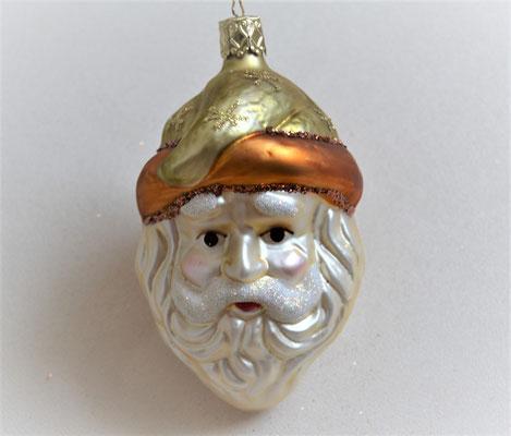 Christbaumkugel Nikolauskopf aus Glas creme-gold