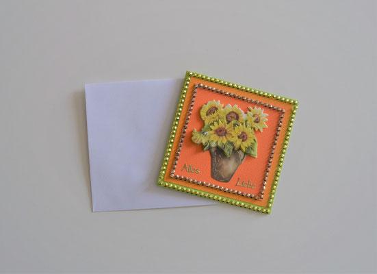 Glückwunschkarte Alles Liebe, grün-orange