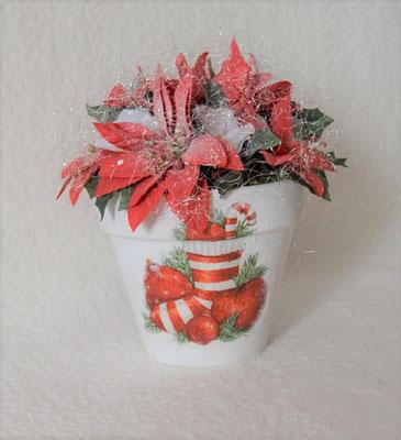Weihnachtsgesteck im weiß-rot