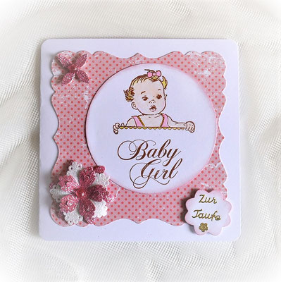 Glückwunschkarte rosa zur Taufe