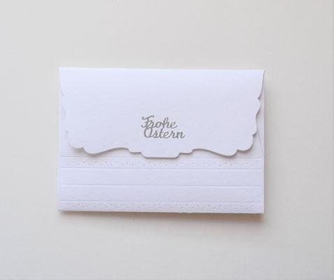 Kuvert weiß-hellblau mit zwei Lämmchen