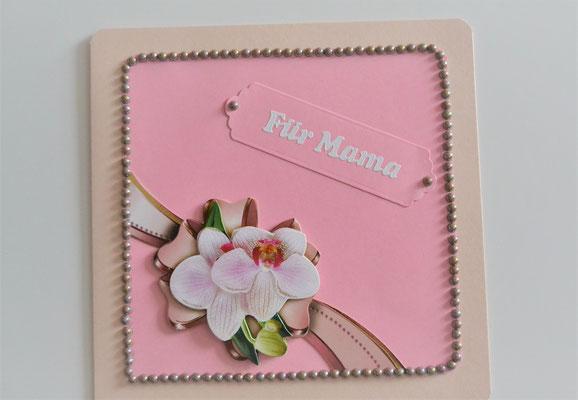 """Muttertagskarte """"Für Mama"""" rosa mit 3 D Motiv"""