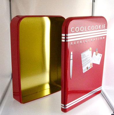 Nostalgiedose Kühlschrank rot geöffnet