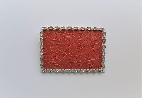 Geschenkkuvert Herzmotiv rot-gold