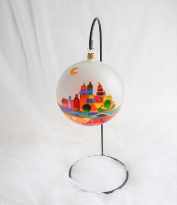 Weihnachtsdekokugel aus Glas mundgeblasen mit Ständer
