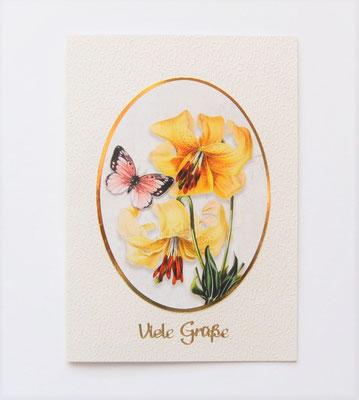 """Karte """"Viele Grüße"""". in creme-gold. Lilie gelb mit Schmetterling"""