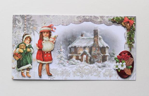 Weihnachtskarte. Zwei Mädchen im Wald.