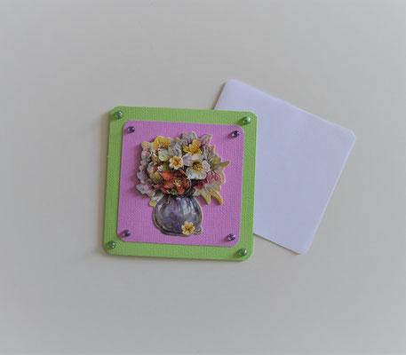 Glückwunschkarte grün-flieder (2) Blumenstrauß in Vase