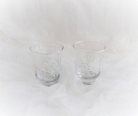 Teelichtglas mit Sternornament 2er Set