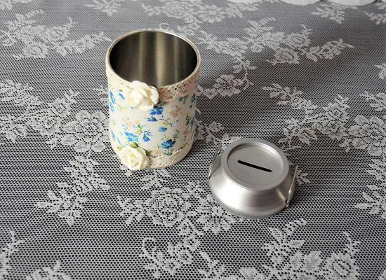 Spardose Milchkanne mit Stoff bezogen