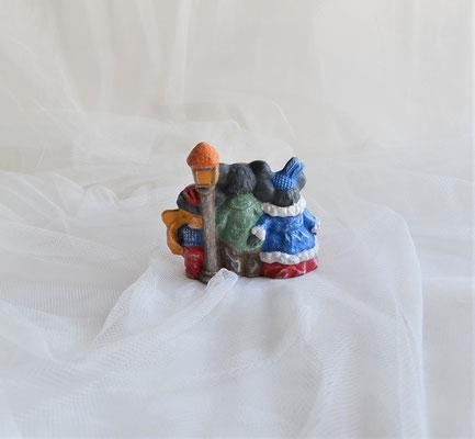 Singende Mäuse mit Laterne aus Keramik
