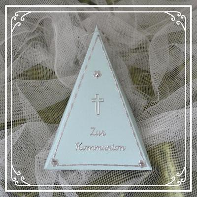 Dreieckschachtel für Geld oder Gutschein zur heiligen Kommunion.