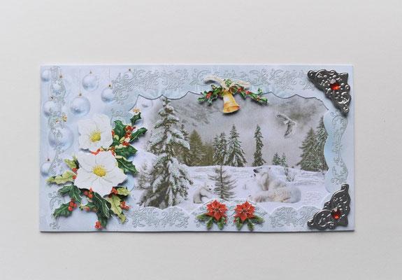 Weihnachtskarte. Spielende Eisbären.