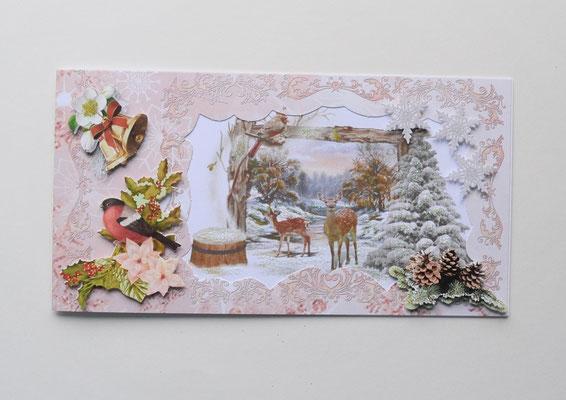Weihnachtskarte. Zwei Rehe im Wald.