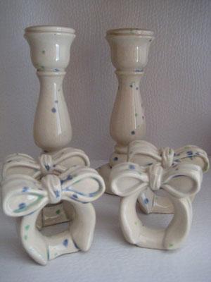 Kerzenständer mit Serviettenringe glasiert
