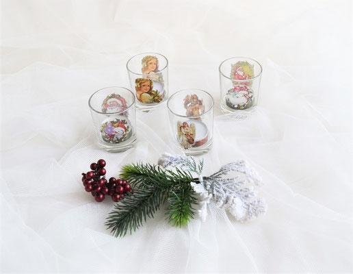 4 Teelichtgläser mit transparent Sticker incl. Teelicht