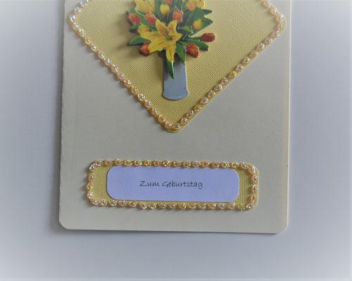 Geburtstagskarte gelb mit 3 D Motiv