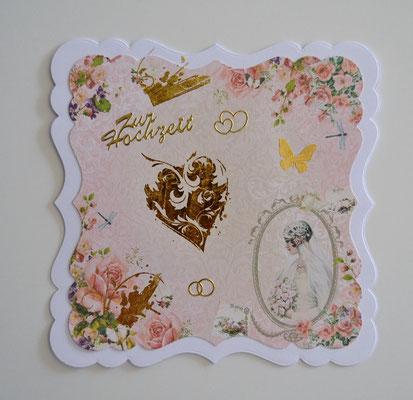 Romantische Hochzeitskarte 15 x 15 cm