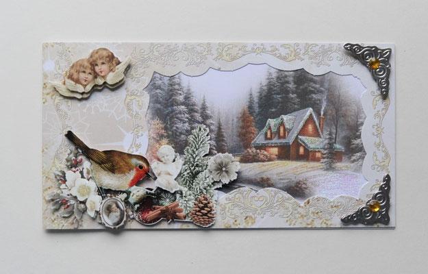 Weihnachtskarte. Haus im Wald mit zwei Engel.
