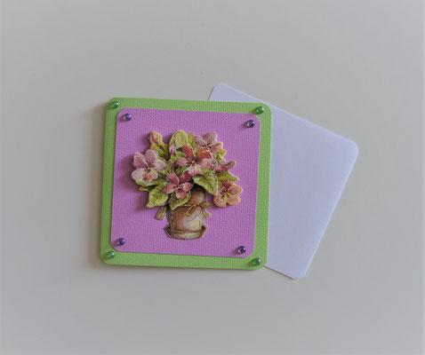 Glückwunschkarte grün-flieder (1) Blumenstrauß in Vase