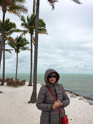 froh um die warme jacke - es bläst ein starker wind