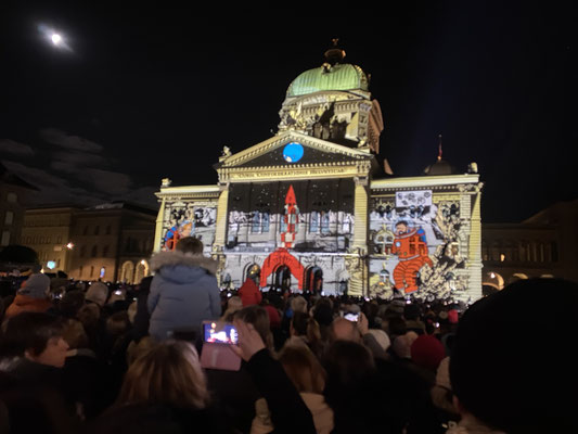 lichtshow am bundeshaus - the first step (erste mondlandung)