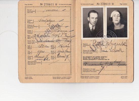 Mit diesem Pass im Gepäck zog Karl Schenk mit seiner Frau Anna Schenk-Schüepp 1934 nach Paris
