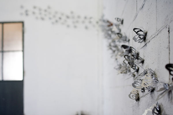 Butterfly Effects, 2008, silver enamel on paper, 140 elements, OFFICINE CREATIVE, Barasso, photo Vincent Berg