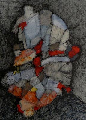 Retrato De Personaje Polimórfico 01  /mixta sobre cartón 41x30 cms