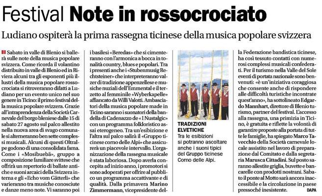 Corriere del Ticino - Agosto 2011