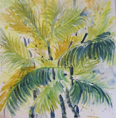 Unter Palmen, Aquarell, 30 x 30 cm