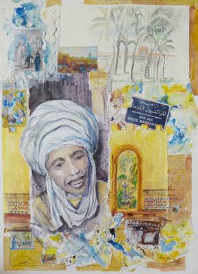 Marrakesch-Mon amour, Collage, Mischtechnik, 100 x 70 cm