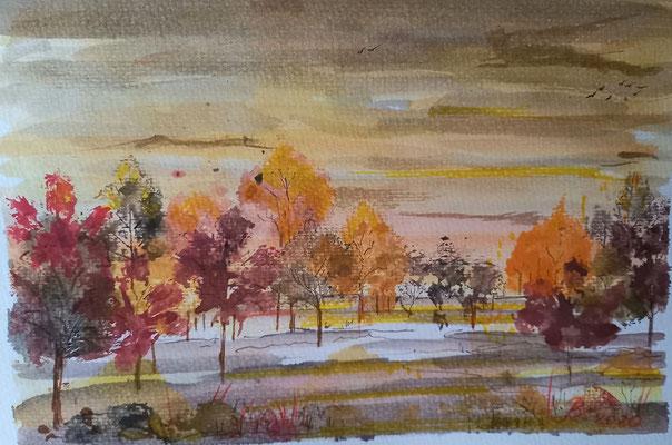 Herbstwald, Materialdruck, Aquarell, 30 x 20 cm