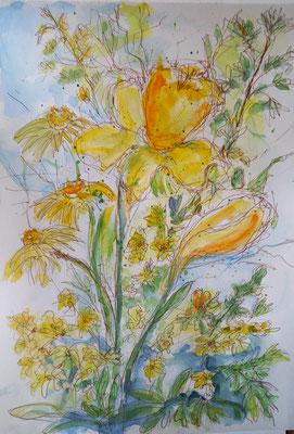Gelbe Pracht, Aquarell, Stifte, 20 x 30 cm