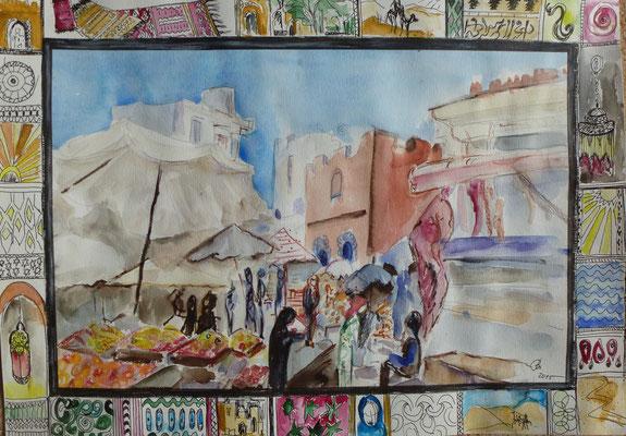 Markt in Marrakesch, Mischtechnik, 30 x 40 cm