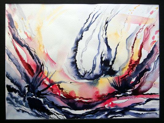 Bewegung, Aquarell, Stifte, 30 x40 cm