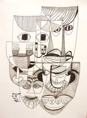 Verspielt, Feder, Bleistift, 20 x 30 cm