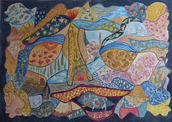 Gegen den Corona- Blues, Mischtechnik, 70 x 50 cm