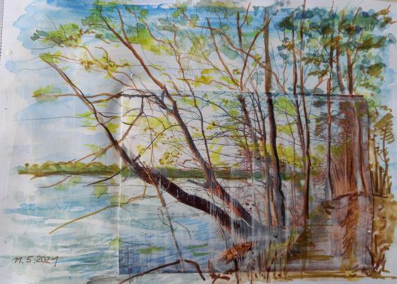 Am Kalksee, Aquarell mit Collage