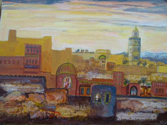 Medina, Acryl, Collage, Stifte, 40 x 30 cm