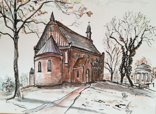 Kirche Zum guten Hirten in Grünheide, Rohrfeder, laviert, 40 x 30 cm