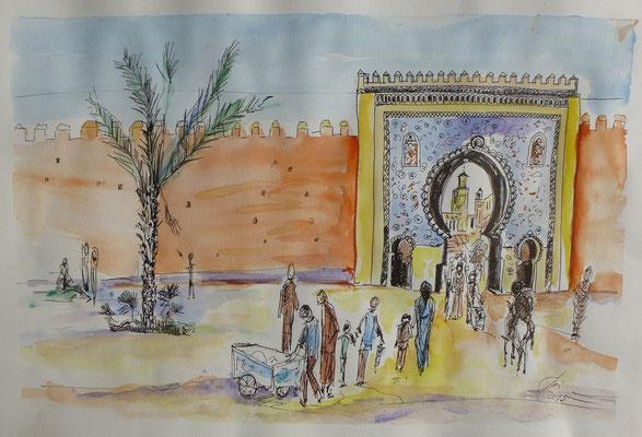 Tor zur Medina, Feder, Aquarell, 30 x 30 cm
