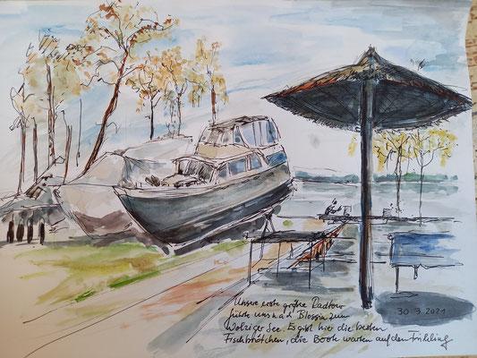 Am Wolziger See, Blossin, Aquarell, Stifte, 30 x 20 cm
