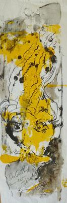 Der Geist aus der Flasche, Monotypie, Feder, 20 x 68  cm