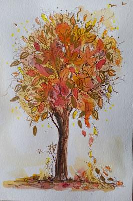 dekorativer Baum, Aquarell, Stifte, 15 x 21 cm