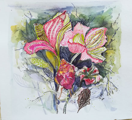 Blumen, Mischtechnik, 30  x  30 cm