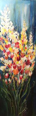 Frühlingsgruß, Öl, 30 x 100 cm