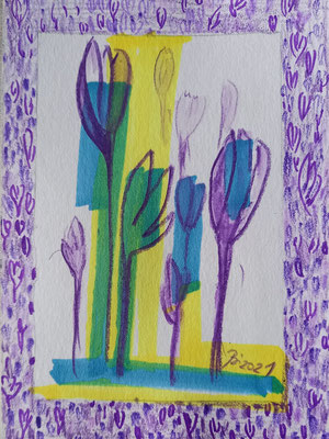 Krokusse, Aquarell, Stifte, 10 x 15 cm
