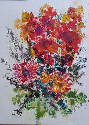 Fantasie im Herbst, Materialdruck, Stifte,  36 x 48 cm