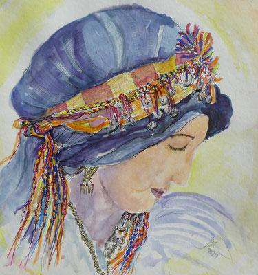Marokkanerin, Auarell, Feder 30 x 30 cm